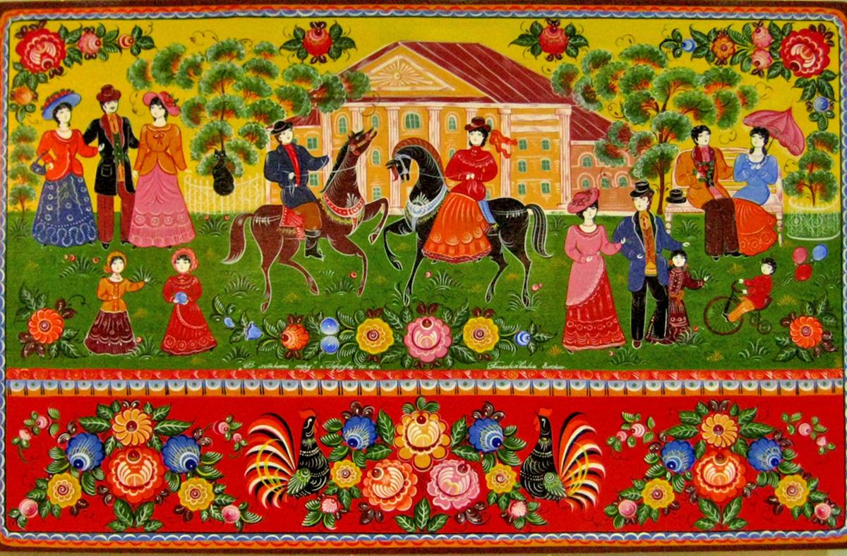 Художниците на Городец обикновено рисуват жанрови сцени (веселби, пиене на чай, известния городецки кон с ездач и народни празници), декоративни изображения на птици и животни (петли, коне, лъвове, леопарди и т.н.) и цветни мотиви.