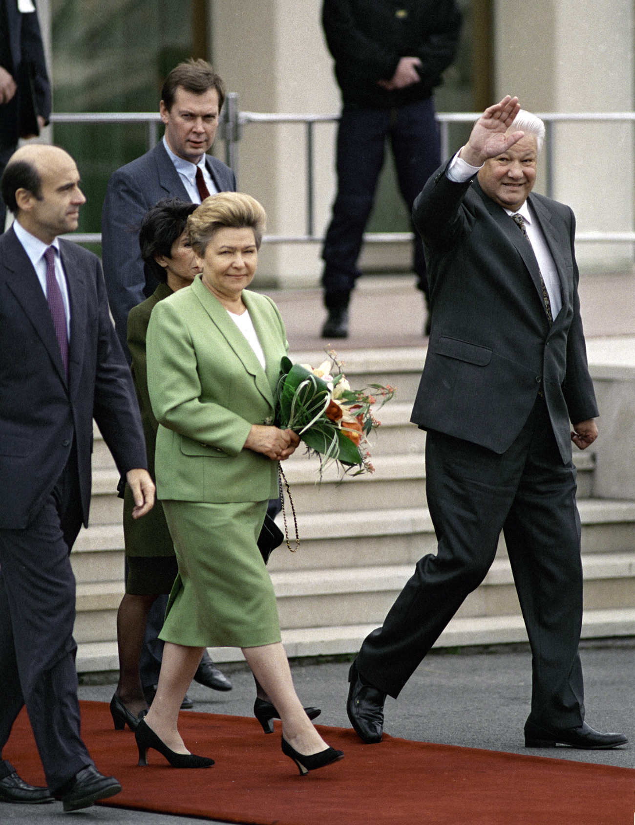 Russian President Boris Yeltsin (right) and Naina Yeltsin (center) at Orly Airport during their visit to France