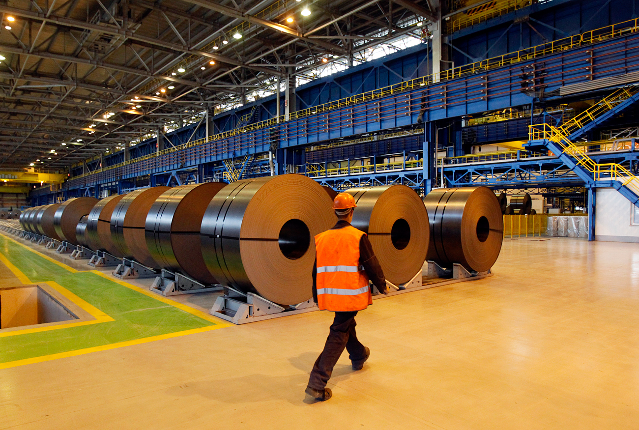 The EU Commission imposed definitive anti-dumping duties on cold-rolled flat steel products from Russia. Pictured: An employee walks inside a cold rolling mill of the Metallurgical Plant, Southern Urals.