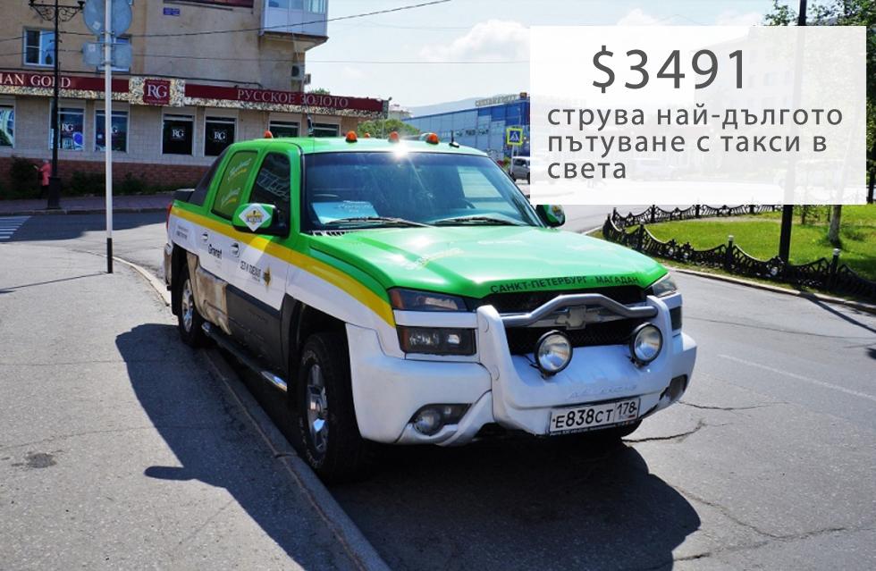 """Руският пътешественик Никита Архипов, участник в експедицията """"Седни и тръгни за Магадан"""", стига от единия до другия край на Русия, като пътува 12500 км от Санкт Петербург до Магадан с таксиметровата компания """"ТаксовичкоФ"""". Возенето му струва 233013 рубли ($3491). Това е нов световен рекорд за продължителност на пътуване, според местния новинарски портал. Magadanmedia.ru. На Архипов му отнема един месец, за да стигне до Магадан.Експедицията """"Седни и тръгни за Магадан"""" започва на 27 юни. Архипов е един от шестимата души, включили се в експедицията, но е единственият участник, пътувал с такси. Твърди, че е много доволен от пътуването и споменава, че """"всеки град – не само Санкт Петербург – трябва да предлага такава възможност – а именно хората да си поръчват такси, с което да пътуват из цялата страна"""".Според организаторите на експедицията една от целите на пътешествието е да популяризира активния туризъм сред широката общественост в Русия."""