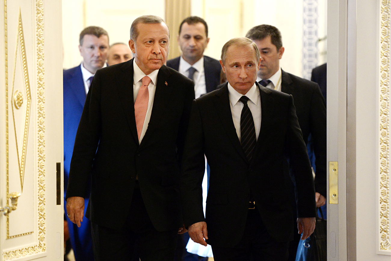 Turkey's president Recep Erdogan and Russia's president Vladimir Putin meet for talks on August 9 in St. Petersburg, Russia, in a sudden move to restore bilateral relations between the two countries that suffered a drastic setback after a Turkish jet shot down a Russian Sukhoi-24 bomber on a mission in Syria.
