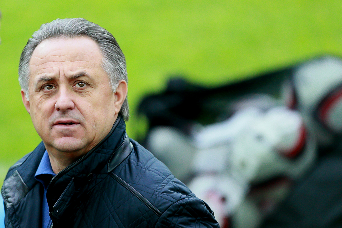 Russian Sport Minister Vitaly Mutko at a training session of the Russian football team ahead of UEFA 2016 Euro qualifier against Montenegro.