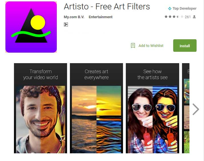 Artisto app uses neural network processing to recreate users' videos in the style of famous artists.