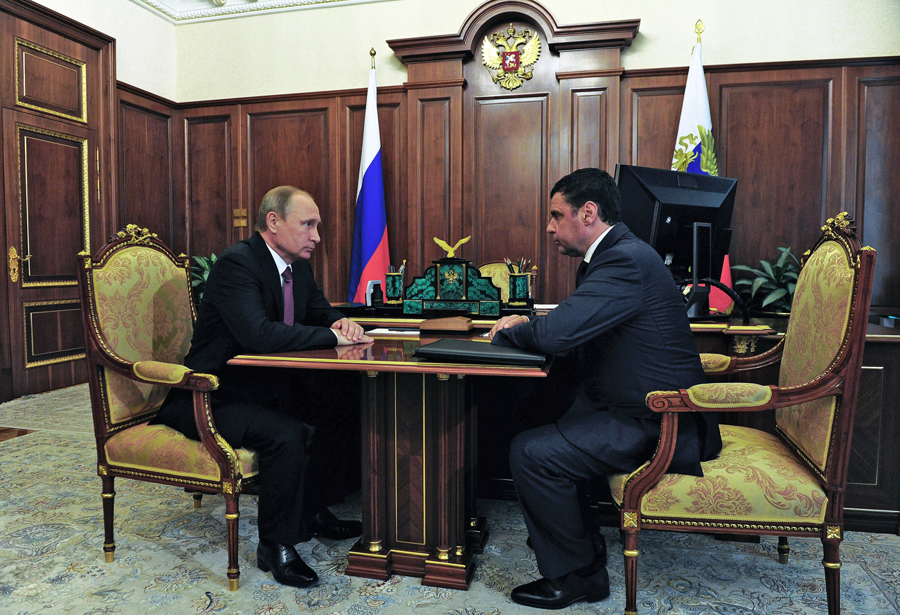 Russian President Vladimir Putin, left, and Deputy Minister of the Interior Dmitry Mironov meet at the Kremlin. Mironov has been appointed Acting Governor of the Yaroslavl Region.