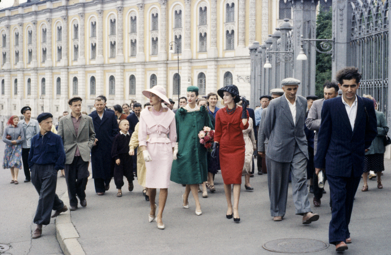Russia- CIRCA 1950: Dior models posing in Soviet Union for sanctioned fashion show walking the streets and getting reaction from locals. Moscow 1959