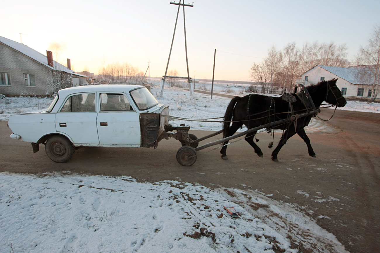 A resident of Tatarstan created a horsemobile.