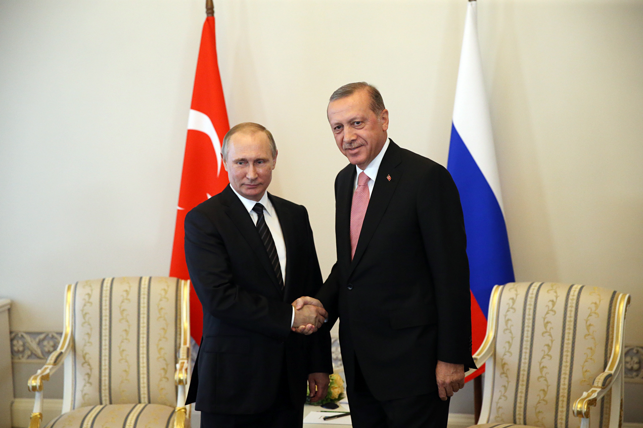 Vladimir Putin and Recep Tayyip Erdogan in St. Petersburg on Aug. 9, 2016.