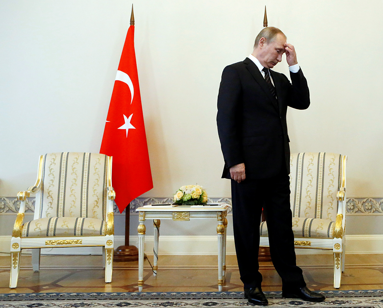 Russian President Vladimir Putin attends a meeting with Turkish President Tayyip Erdogan in St. Petersburg, Russia, August 9, 2016
