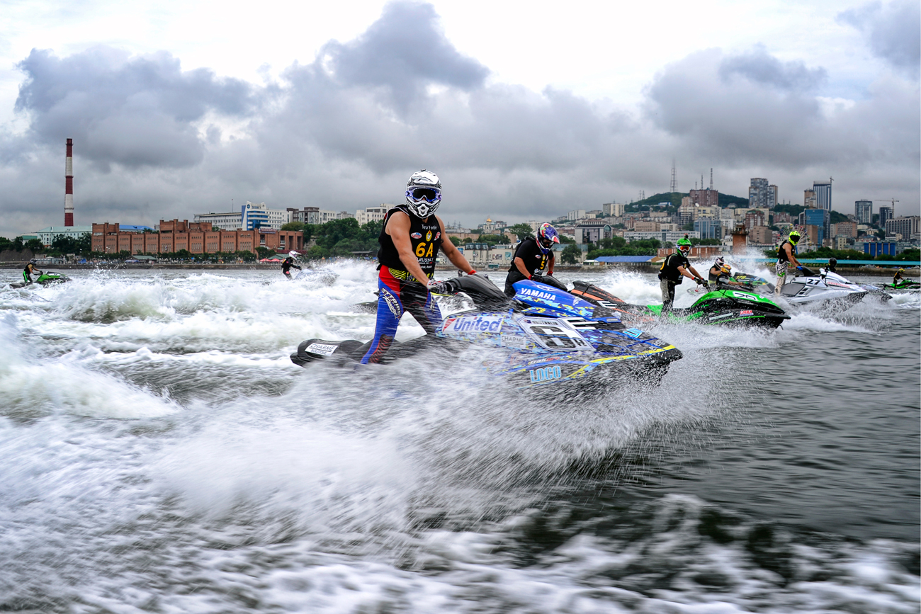 VLADIVOSTOK, RUSSIA - AUGUST 10, 2016: Jet ski pilots compete in the 2016 Russky Grand Prix Jet Ski on Russky Island in Vladivostok.