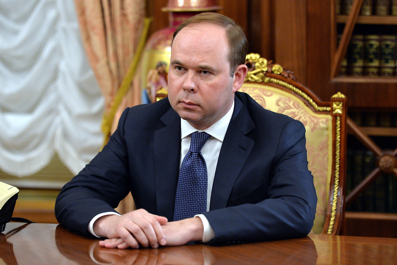 Anton Vaino, appointed chief of staff of the Presidential Executive Office, attends a meeting with Russian President Vladimir Putin in the Moscow Kremlin.
