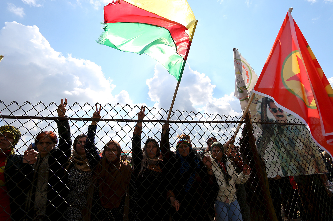 Kurds protest on Feb. 9, 2016 in the city of al-Derbasiyah, 2016, on the Syrian-Turkish border, against what the protesters said were the operations launched by the Turkish security forces against the Kurds.