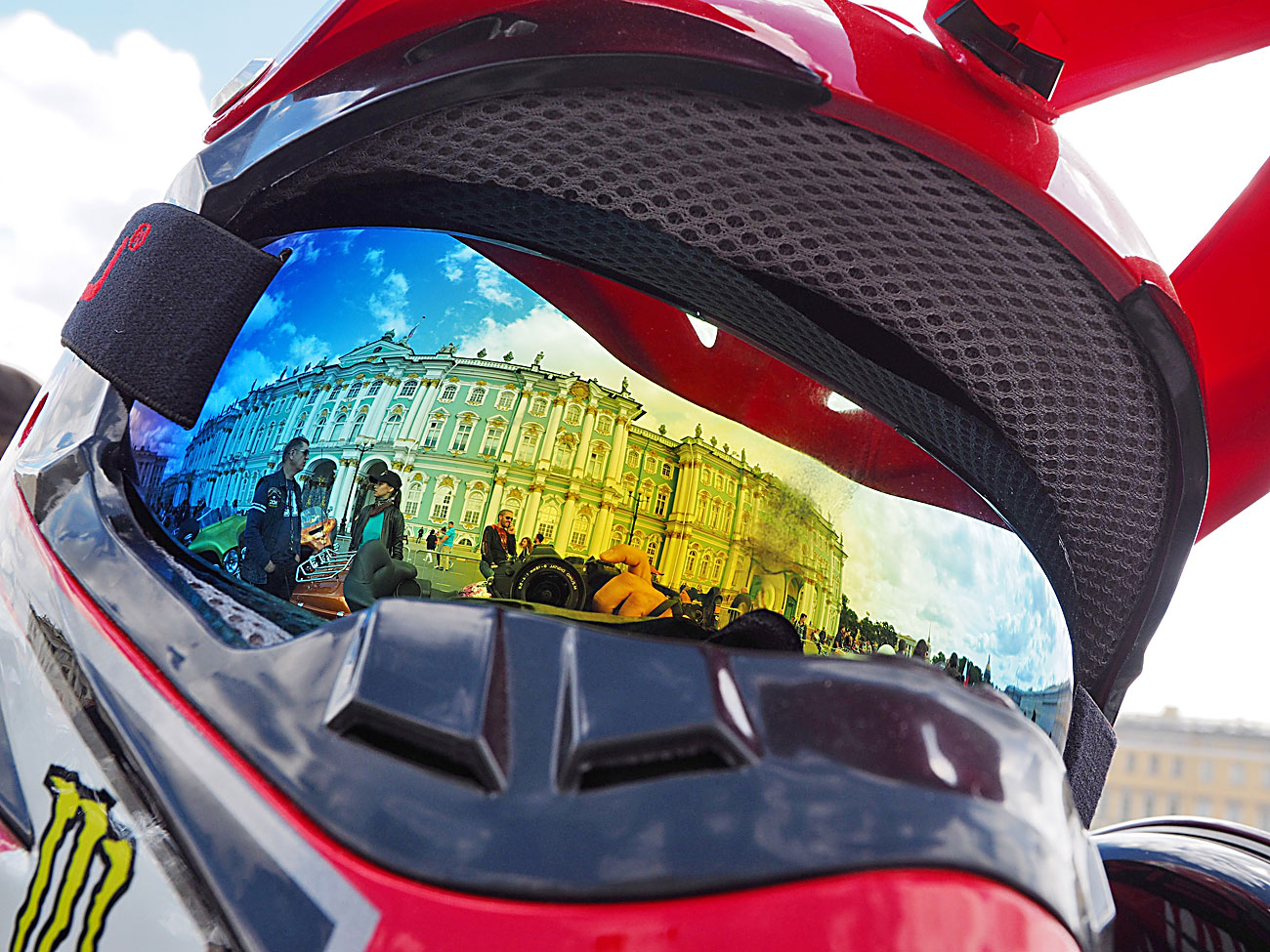 A helmet of a participant in the St.Petersburg Harley® Days bike festival during formation of a motor parade on Palace Square in St. Petersburg.