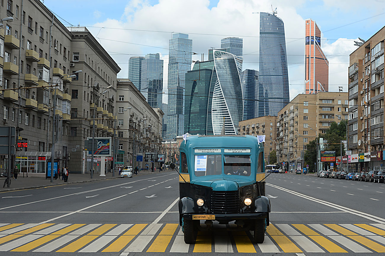 AK 3-1 bus during a parade of rare buses during a Moscow bus holiday.