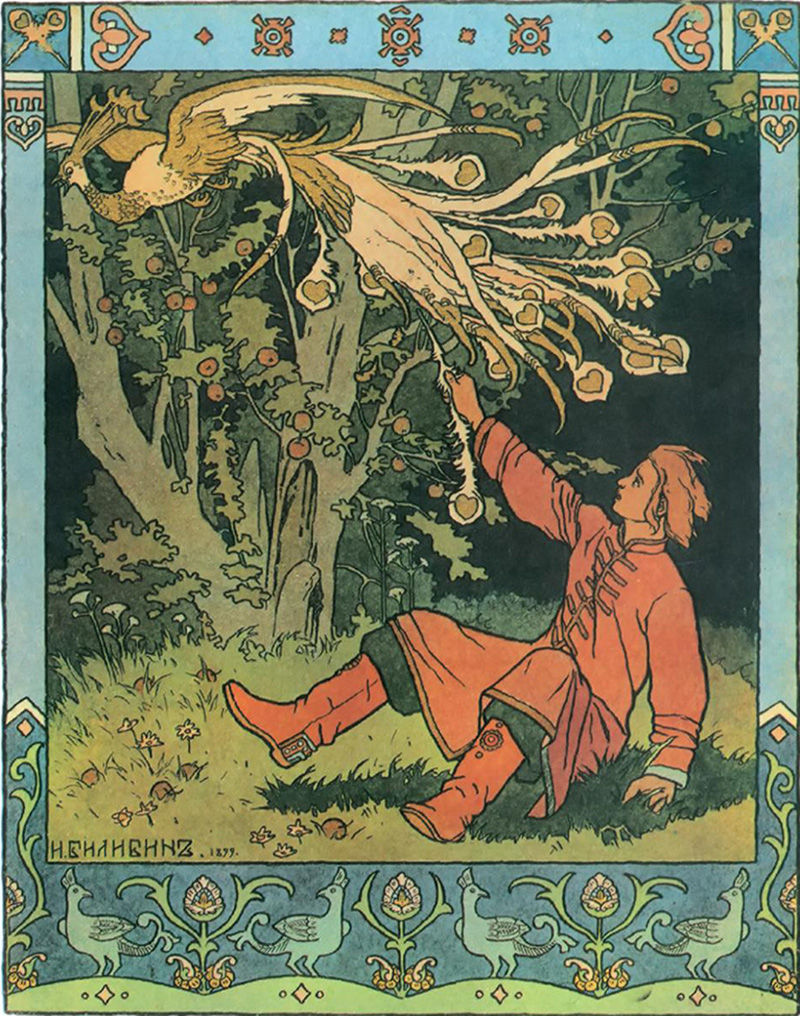 "Bilibin became widely famous after making illustrations for popular Russian fairy tales such as ""Ivan Tsarevich, the Firebird and the Gray Wolf""."
