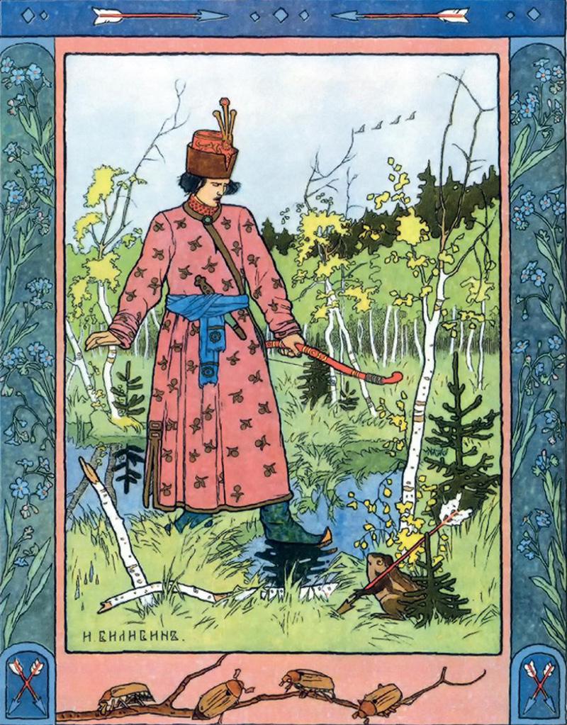 ロシアの詩人で作家のアレクサンドル・プーシキンが書いた民話の挿絵の制作において、ビリビンの創作は絶頂に達した。