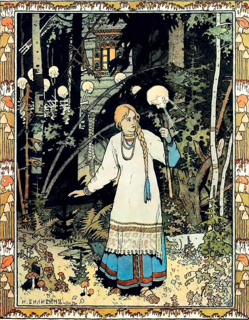 Bilibin was heavily influenced by trips arranged under the auspices of the Russian Museum in St. Petersburg. He traveled to the Vologda, Olonetsk and Arkhangelsk governorates in search of examples of Russian wooden architecture and ethnographic studies.