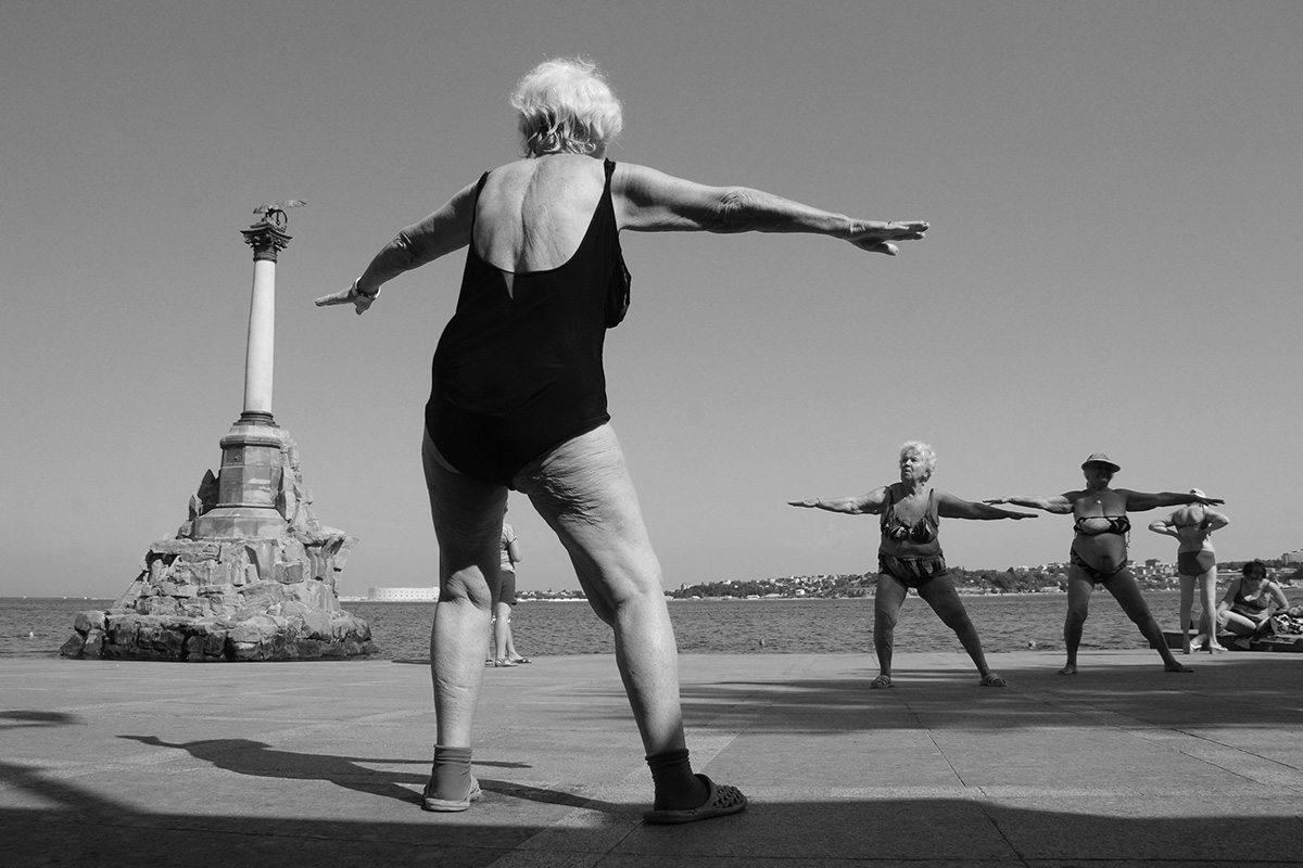 Sevastopol. Women aged 80-95 years gather on the embankment every summer morning for a workout.