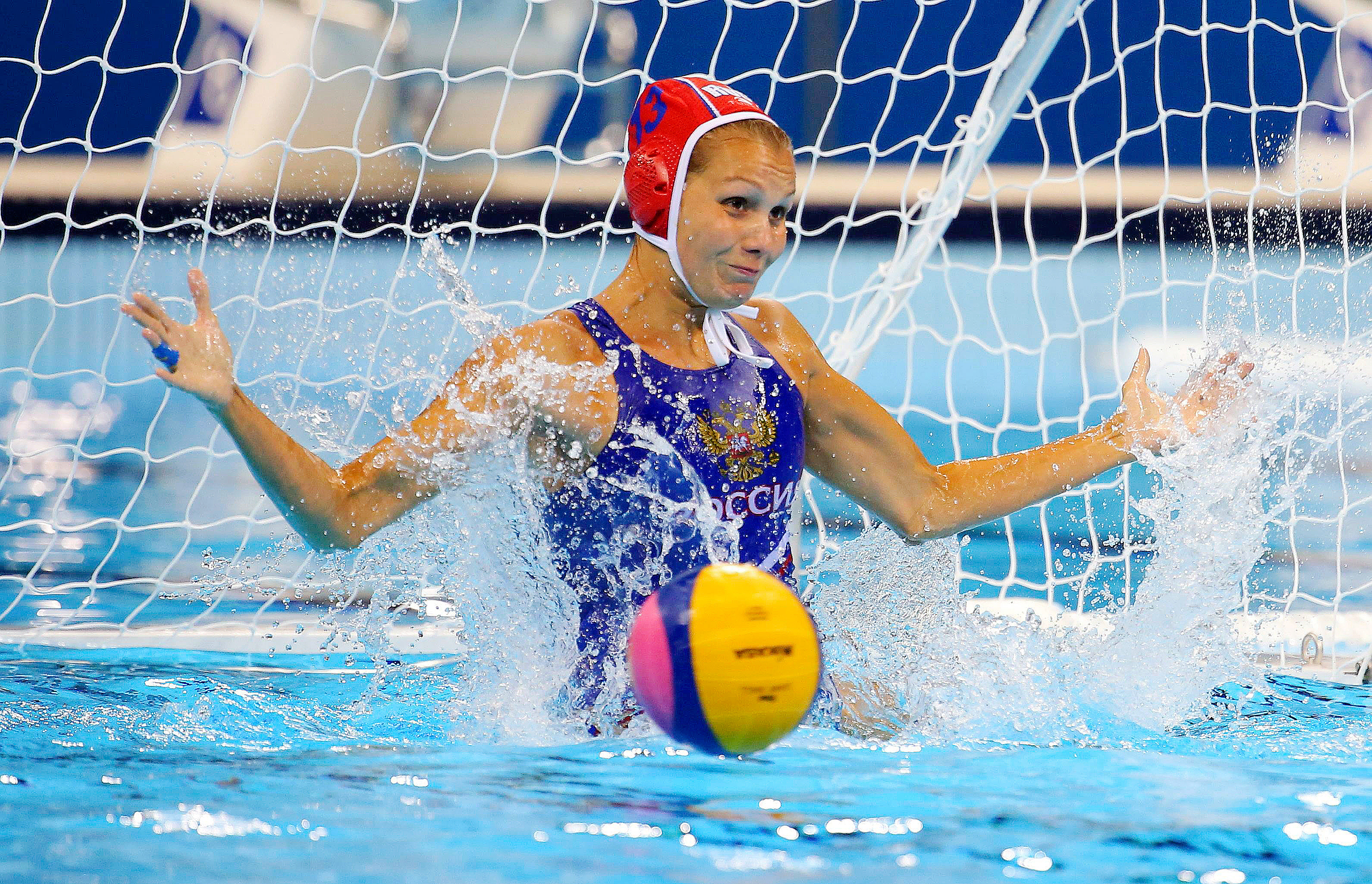 Goalkeeper Anna Karnaukh (RUS) of Russia competes