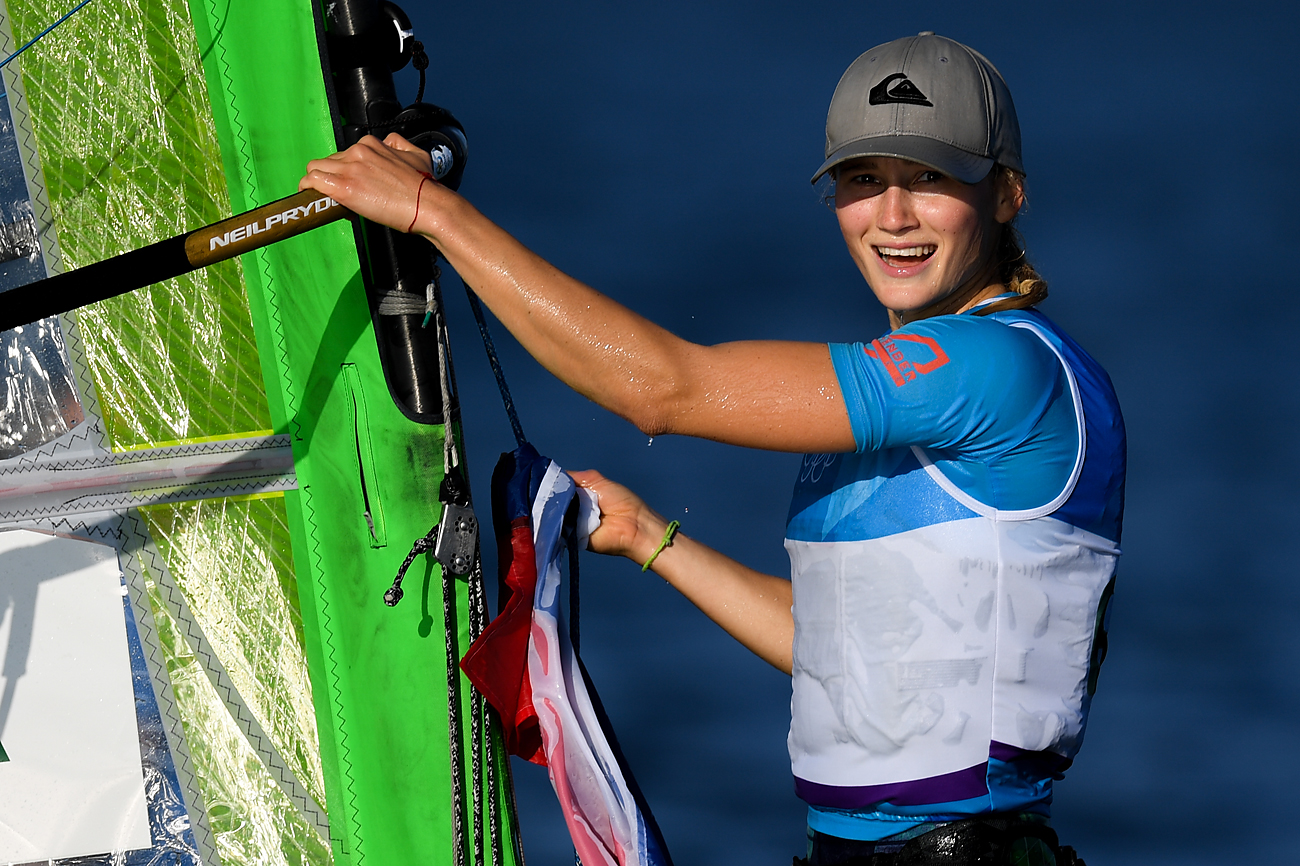 Stefaniya Yelfutina (Russia), winner of the bronze medal in the women's RS:X sailing event at the XXXI Summer Olympics.
