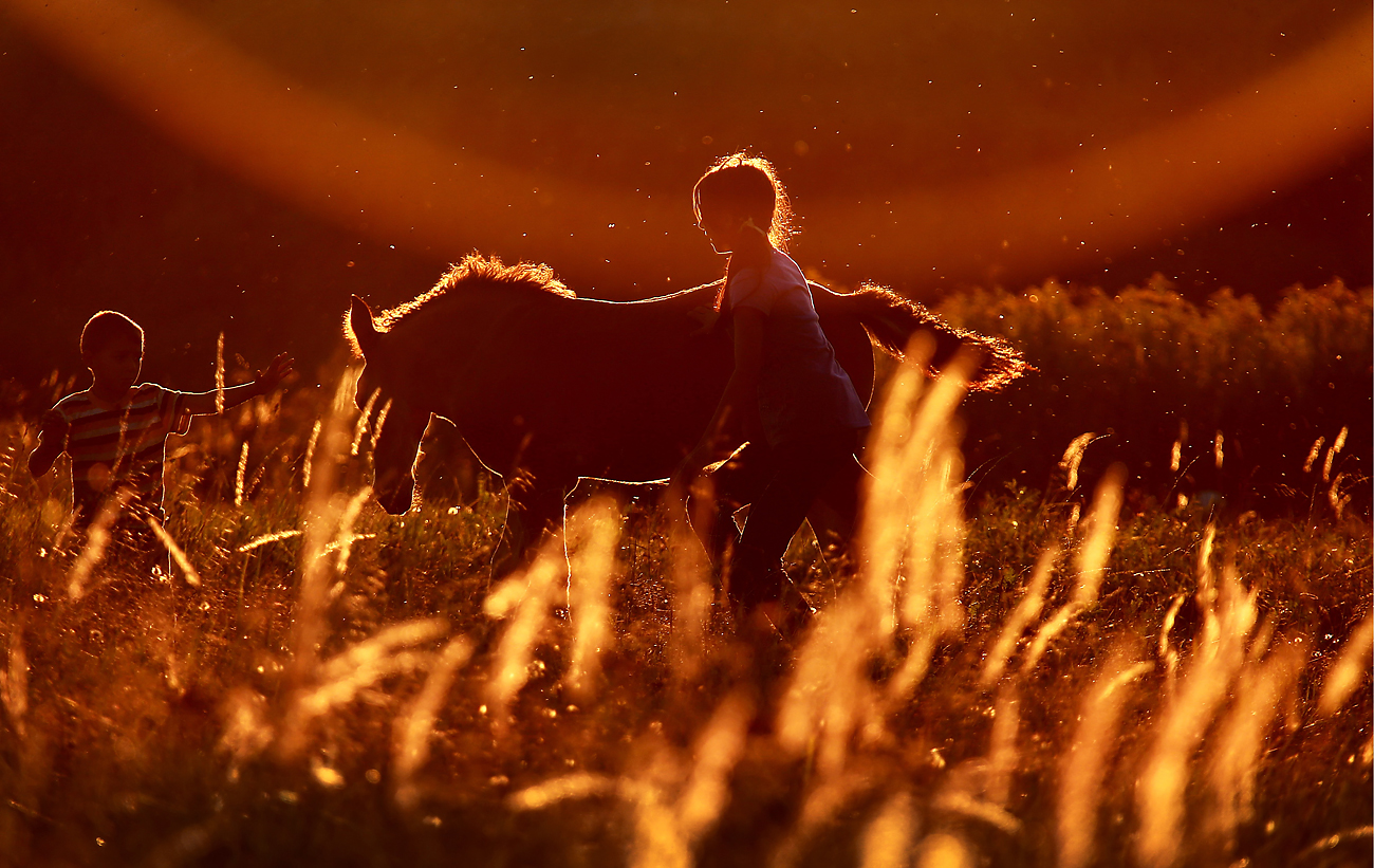 Children stand by a horse grazing in a field near the village of Lobanovo in Kostroma region, Russia.