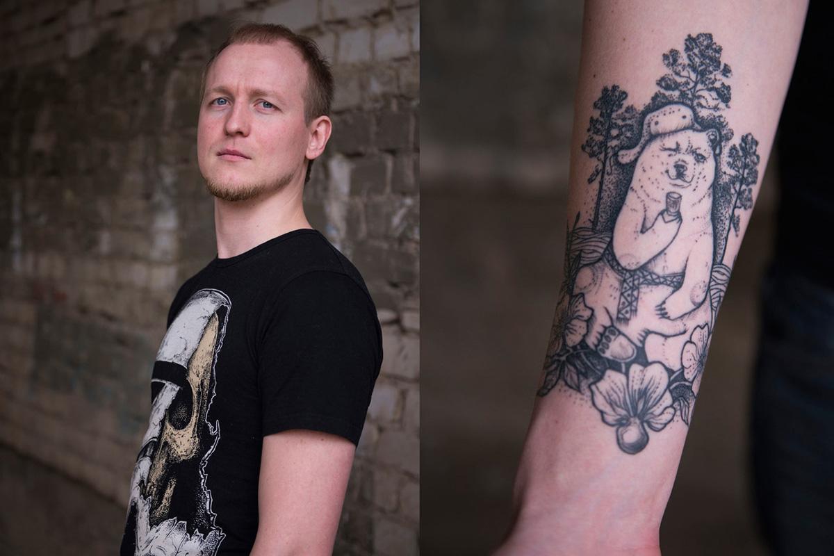 """Andrêi, 27 anos, Samara. """"Minha esposa veio com a ideia do esboço para essa tatuagem. Para mim, transmite a atmosfera da Rússia. Mostra a Rússia em todo o seu esplendor"""", diz o designer Andrêi, que exibe um urso no antebraço."""
