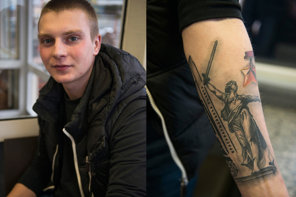 Ivan, 18, student, Moscow. Has a tattoo with an image of 'The Motherland Calls' statue (located in Volgograd, Russia, commemorating the Battle of Stalingrad). 'My grandfather was born in Volgograd and fought in the war. For me it's an honor [to have this tattoo]'.