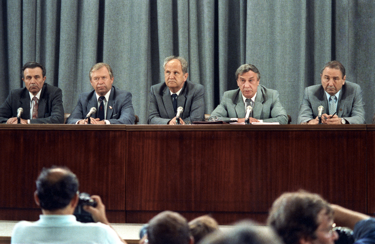 Acting President of the USSR Gennady Yanayev (second from right) holds a press conference on Aug.19, 1991. Members of the the State Emergency Committee of the USSR (from left to right) Tizyakov, Starodubtsev, Pugo and First Deputy Chairman of Defence Council Baklanov also take part in the press conference in the press center of the Ministry of Foreign Affairs of the USSR. Source: Vladimir Musaelyan/TASS