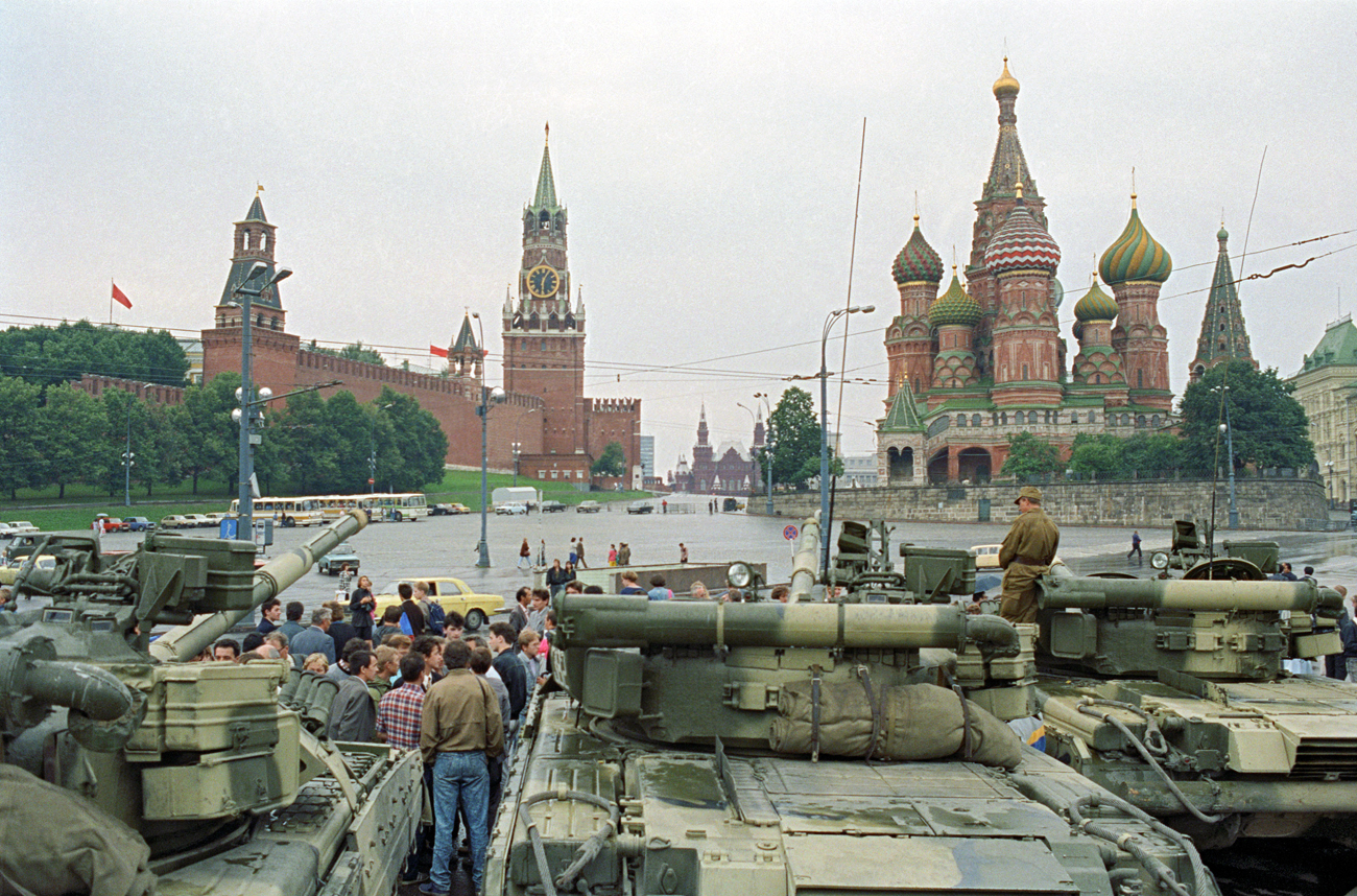 Moscow. Tanks at Red Square on August 19, 1991.