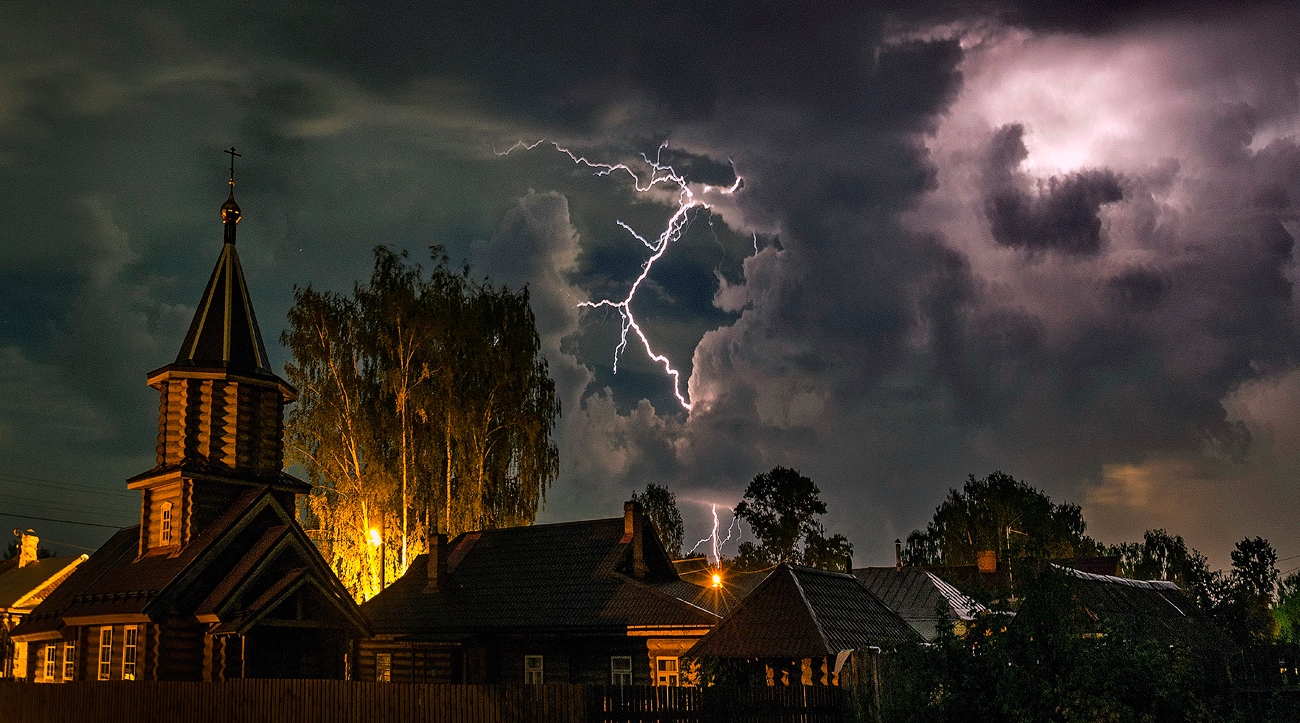 Ivanovo region. Lightning over the city Zavolzhsky
