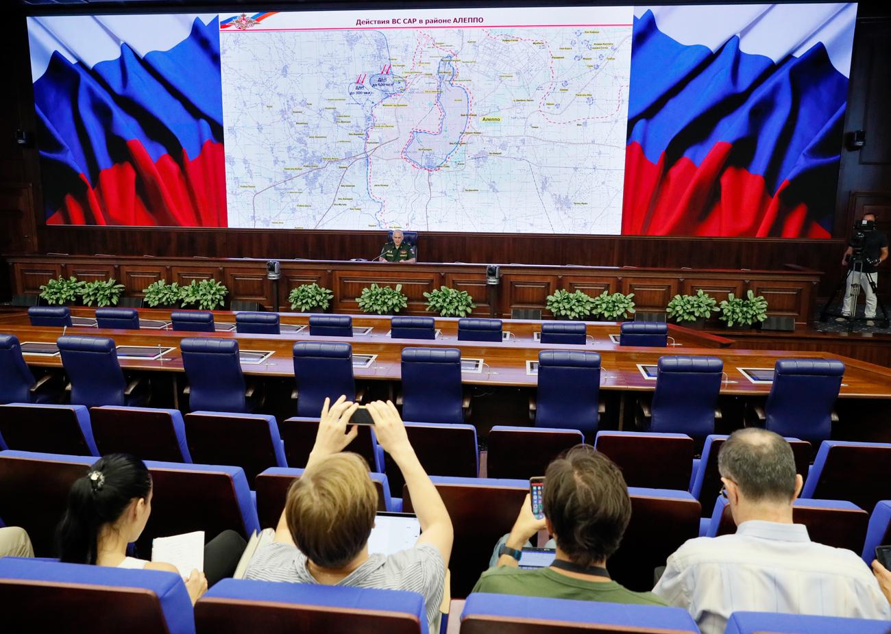 Anfang August präsentierte Sergej Rudskoj, Vertreter des russischen Verteidigungsministeriums, in Moskau eine aktuelle Karte der Militärhandlungen rund um Aleppo.