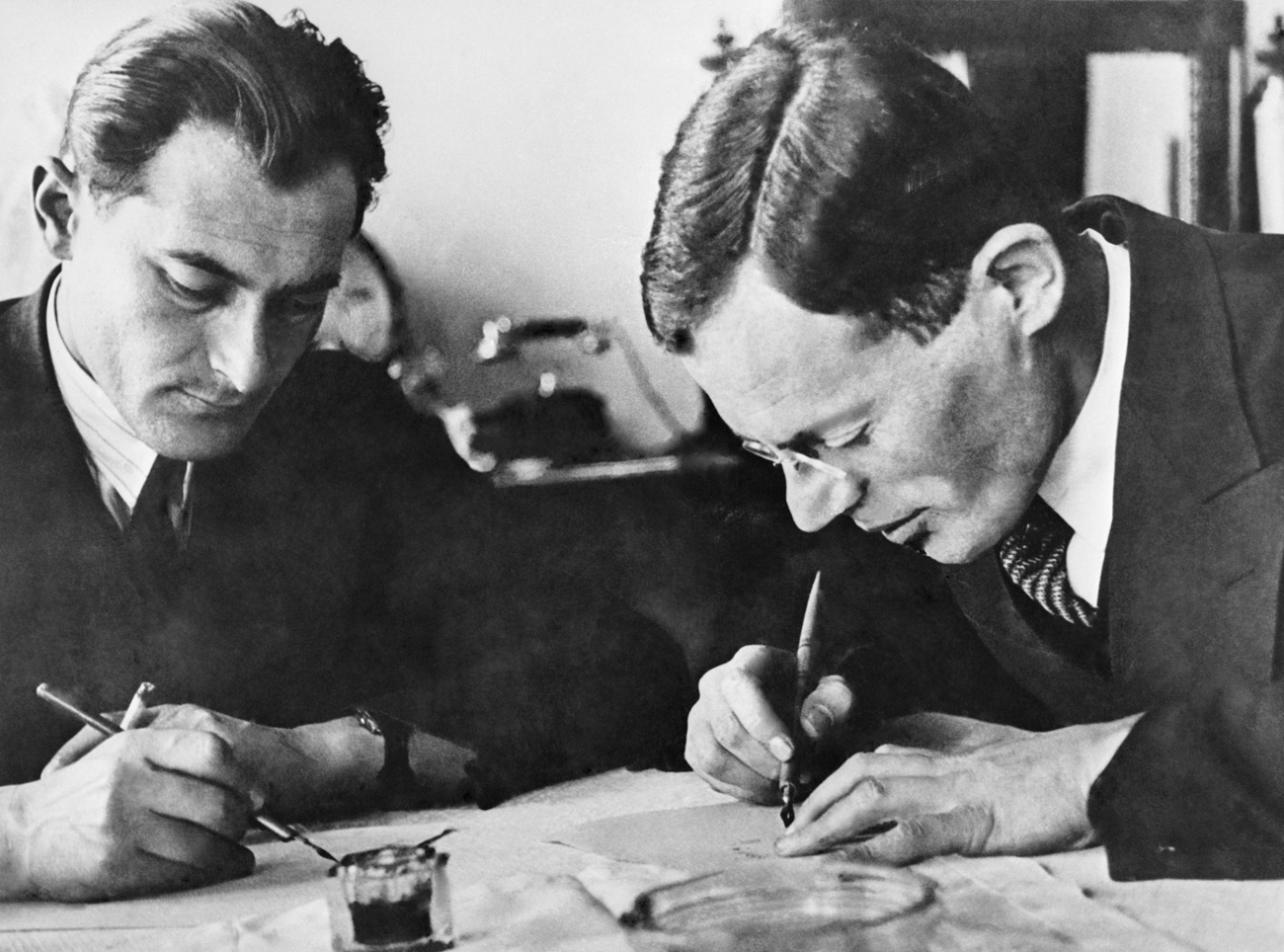 Russian/Soviet writers Ilya Ilf (R) and Yevgeny Petrov at work