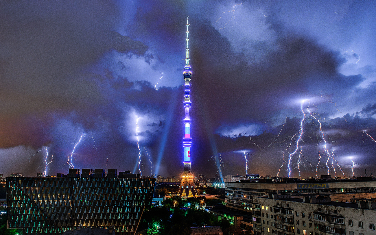 A lightning over the Ostankino TV tower in Moscow