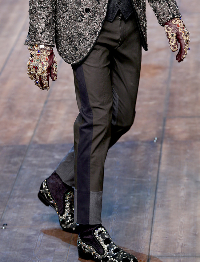 230 miles east of Moscow lies a village by the name of Kazakovo (Nizhnyi Novgorod region), where metalwork has been practised for centuries. / Dolce & Gabbana men's Fall-Winter 2014-15 collection.