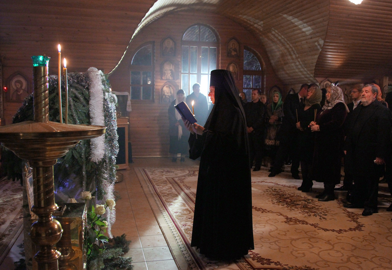Nuns at the Christmas service in the Holy Trinity St. George's Monastery in Lesnoe village, Adler district of Sochi.