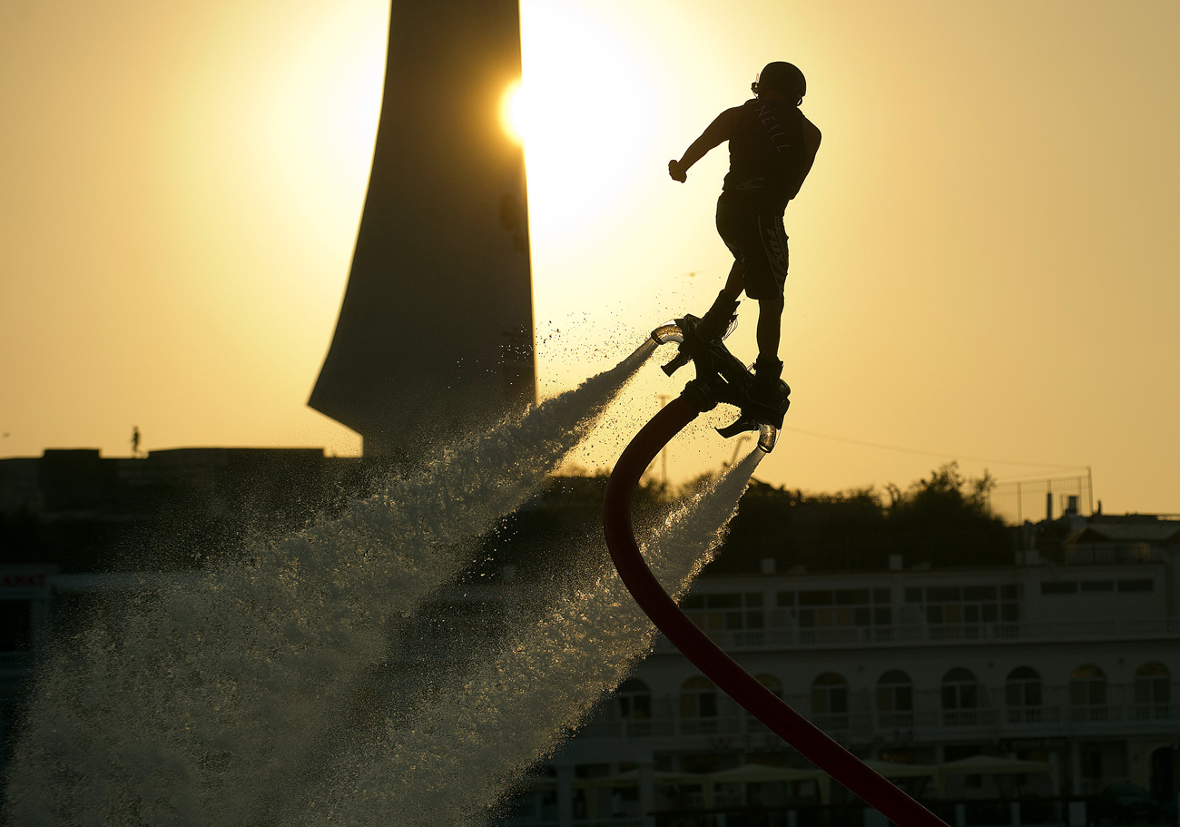 An athlete performs at the Russian flyboard championship in Sevastopol