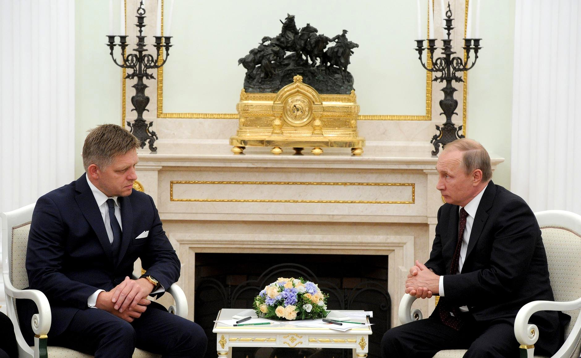 Robert Fico meets with Vladimir Putin in Moscow, Aug. 25, 2016.
