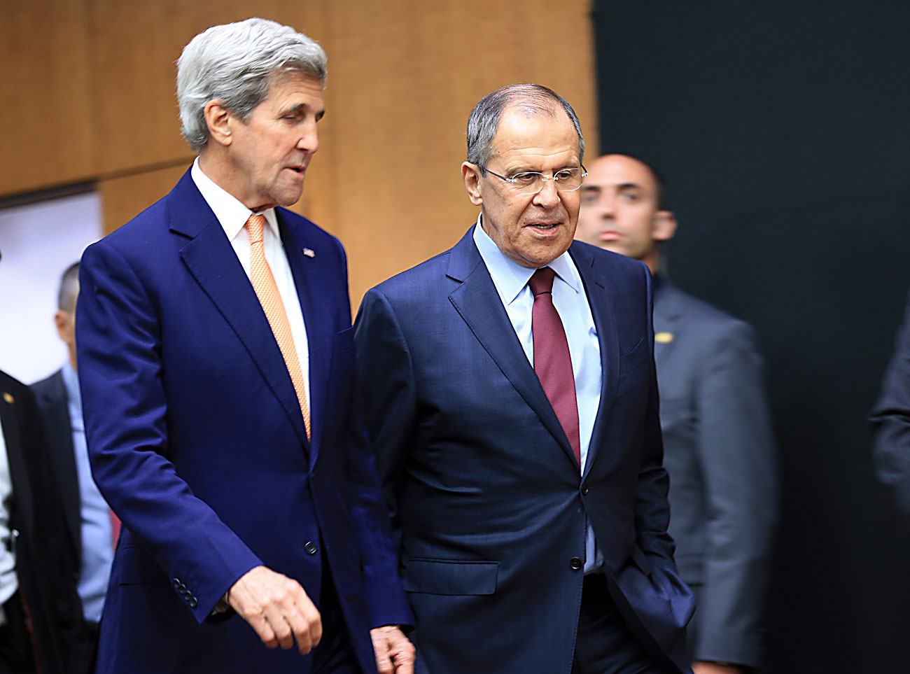 U.S. Secretary of State John Kerry and Russian Foreign Minister Sergei Lavrov arrives for a news conference after a meeting on Syria in Geneva, Switzerland, Aug. 26, 2016.