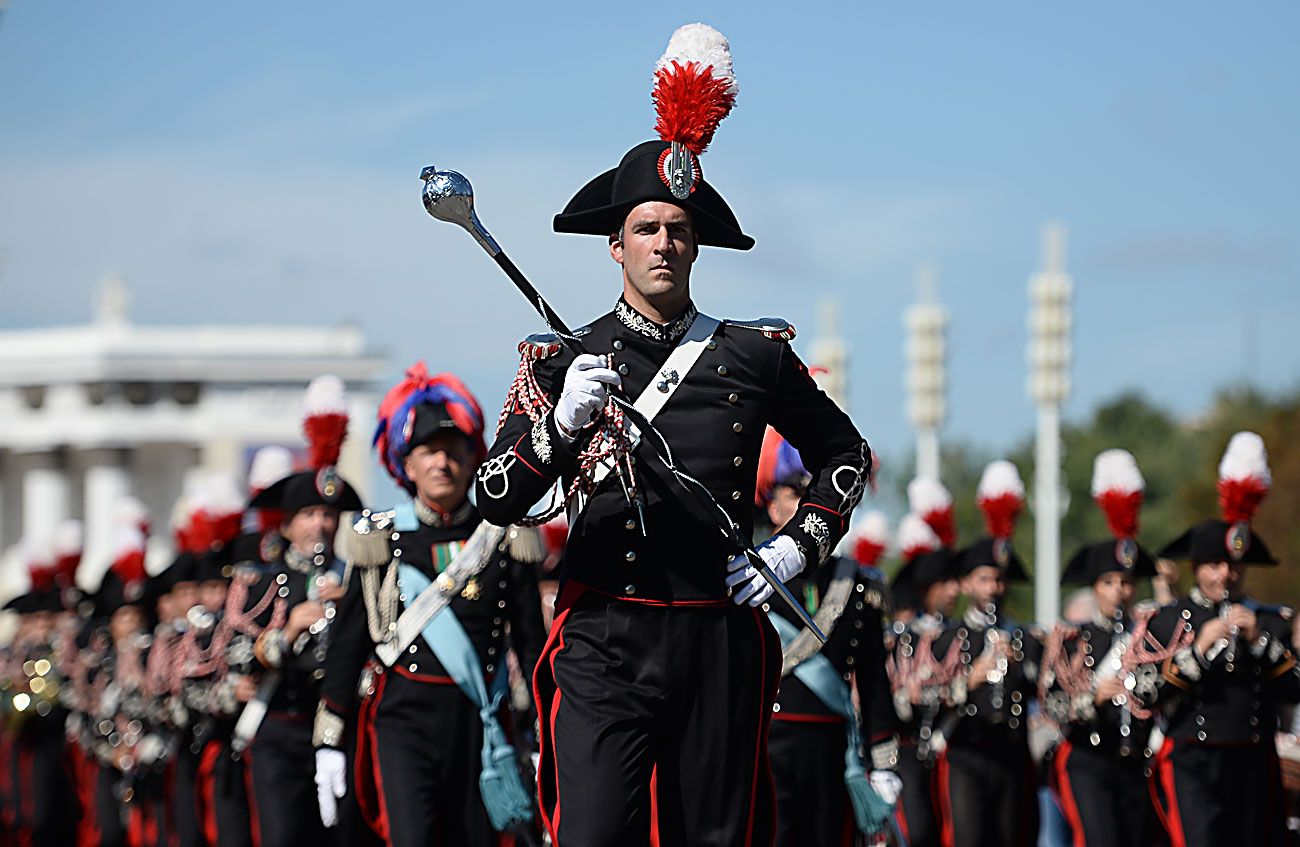 Military band members perform during the Spasskaya Tower international military music festival