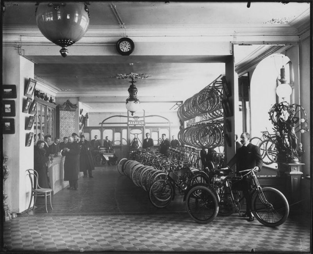 "Artamonov's story is most likely make-belief, but Russian affection for bikes can't be ignored. // 1912. Bikes on display at the ""Podeda"" department store in St. Petersburg"