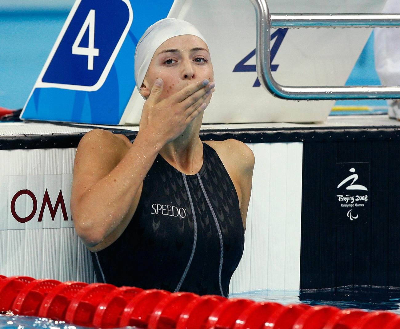 La nageuse russe Olesya Vladykina, médaillée d'or des JO de Pékin de 2008, le 9 septembre 2008.