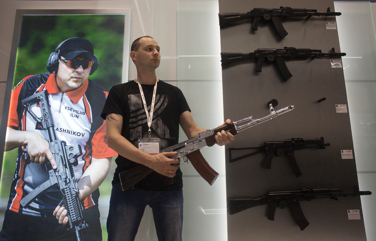 A salesclerk at a newly opened store of Concern Kalashnikov at Sheremetyevo Airport.