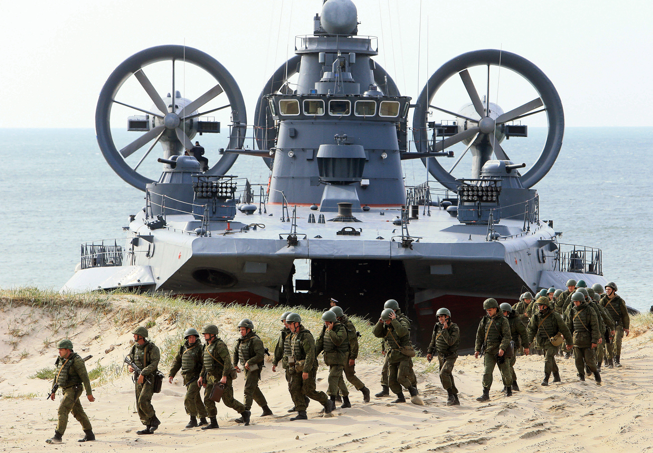 "Coastal defence troops of the Baltic Fleet exercise during the joint Russian-Belarusian drills ""Union Shield 2015"" in Kaliningrad Region, Russia."