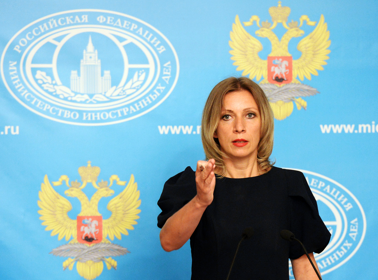 Russian Foreign Ministry Spokesperson Maria Zakharova during a press briefing.