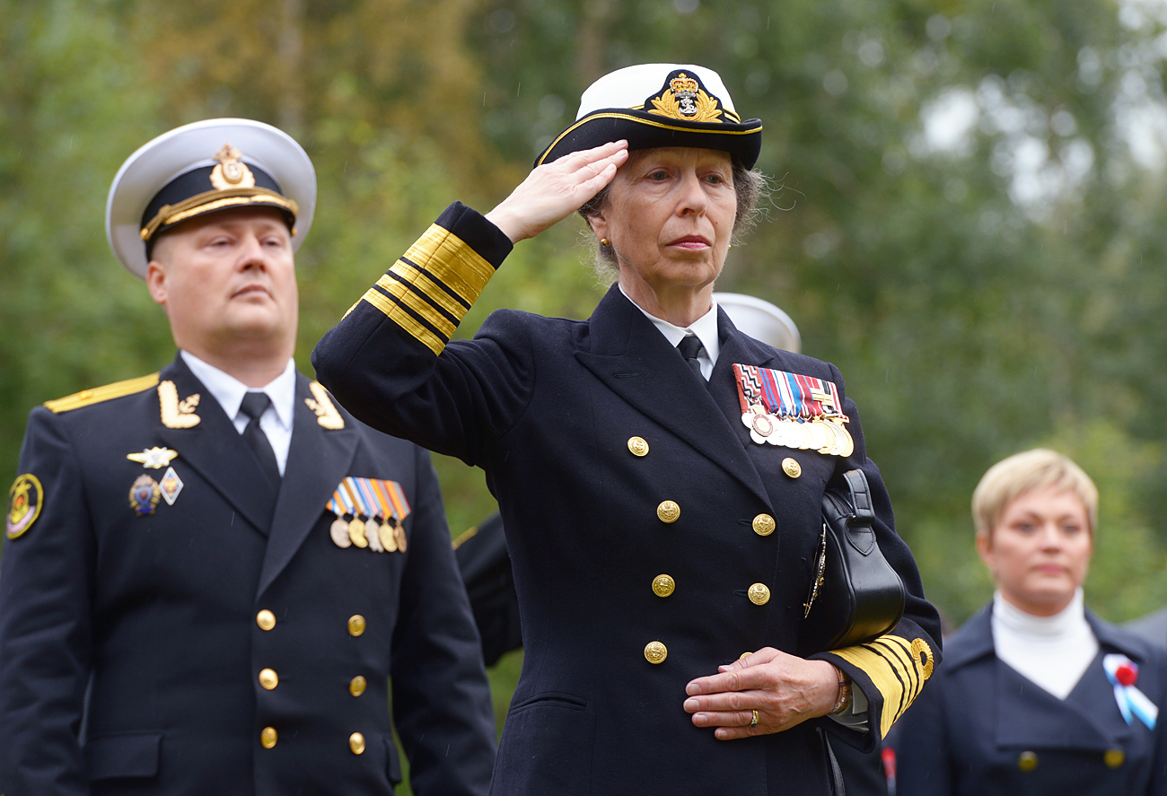 Princess Royal Anne during the flower- and wreath-laying ceremony by a memorial at the British Military Cemetery in Arkhangelsk during the 75th anniversary celebrations of the arrival in the city of the Dervish Convoy, the first of the Arctic Convoys.