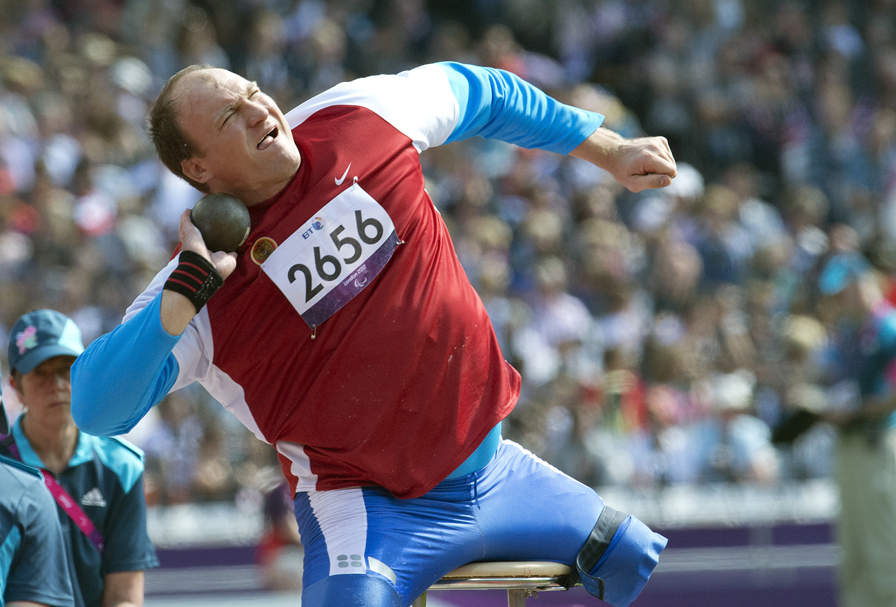 Alexey Ashapatov during the shot put competitions at the 14th summer Paralympic Games in London. Ashapatov won the gold medal.