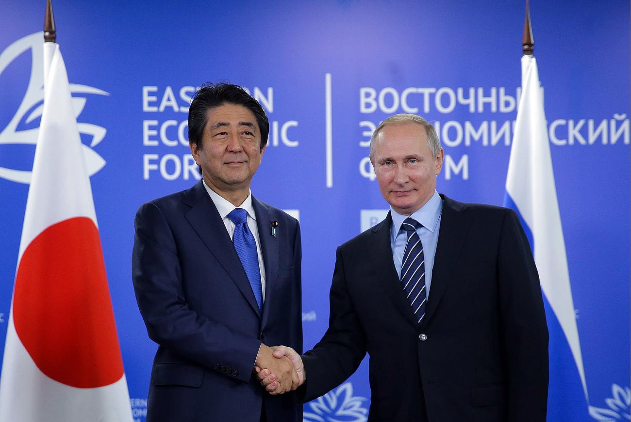 プーチン大統領と安倍首相は、9月2日、ウラジオストクで開催された東方経済フォーラムで会談した。=
