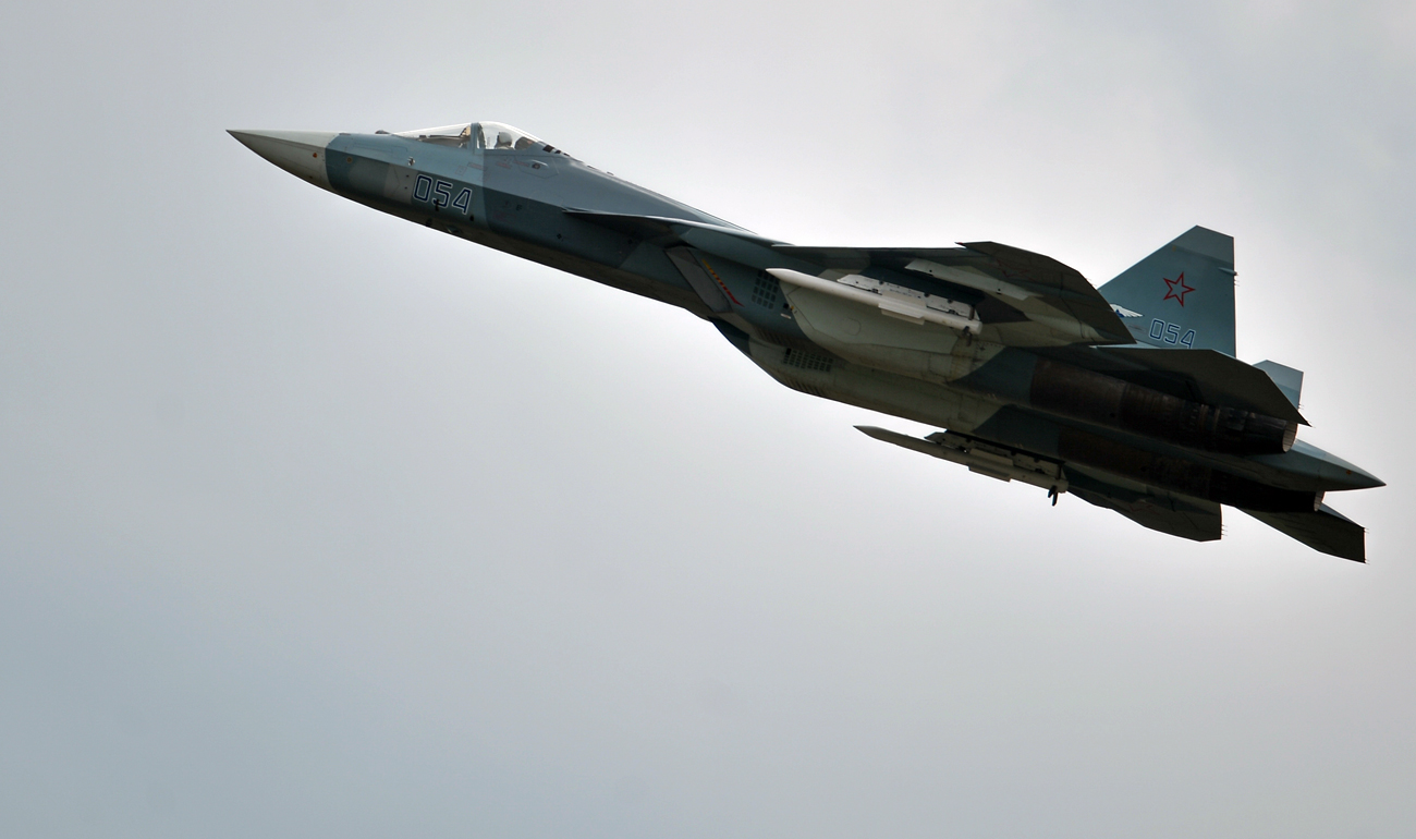 A T-50 airplane during demo flights at the Russian stage of the Aviadarts-2015 Flight Skills Competition in Voronezh.