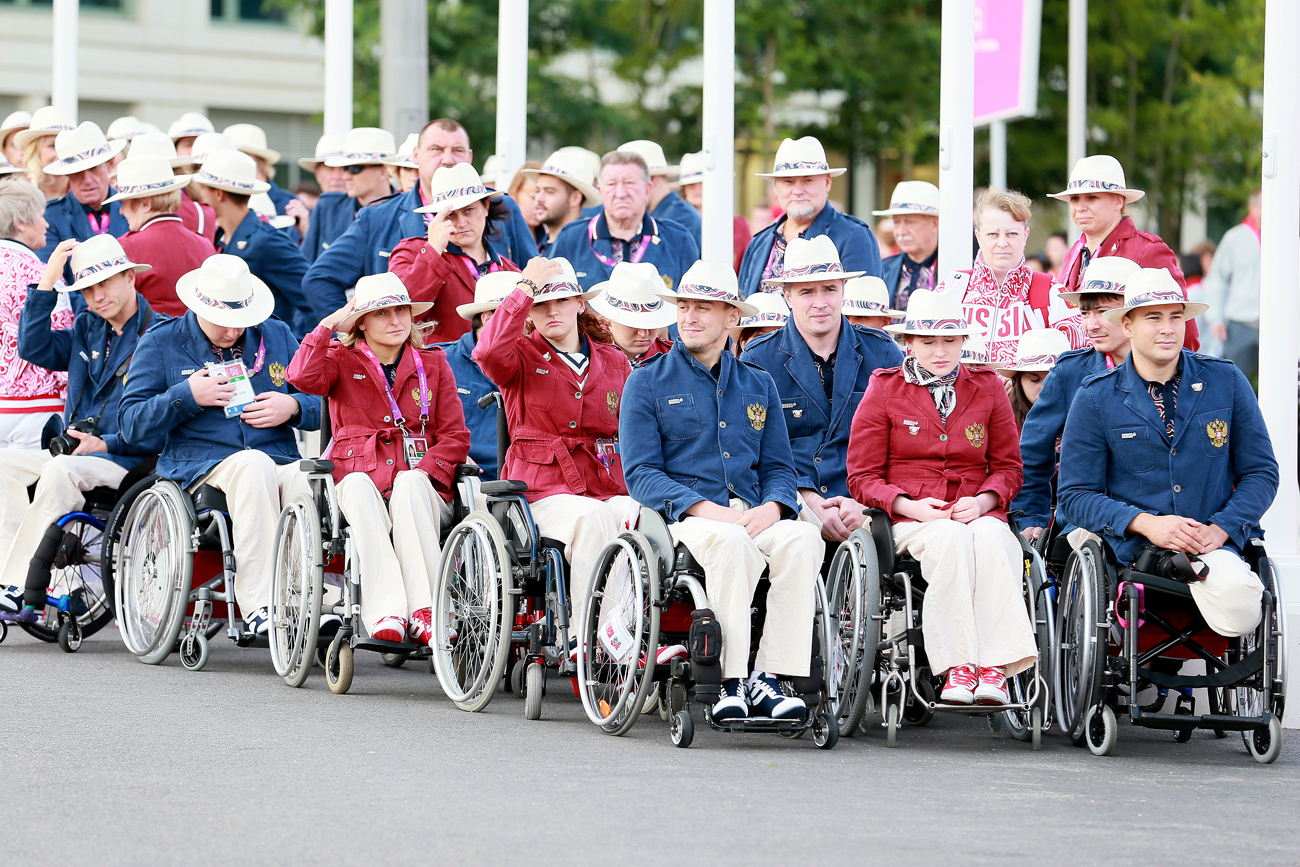 The Russian Paralympic team during the formal Russian flag raising ceremony in the Paralympic Village in London.