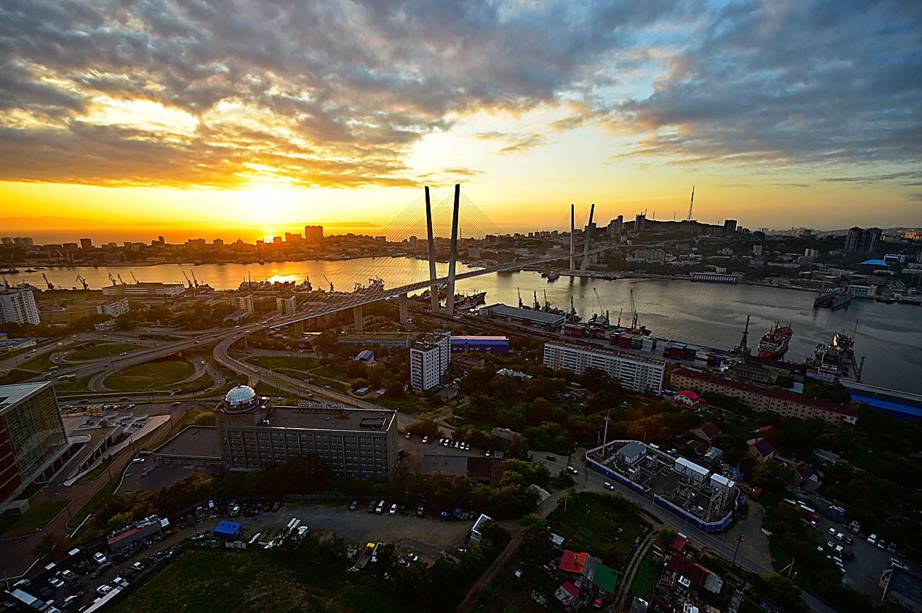 A view of a cable-stayed bridge over the Zolotoy Rog [Golden Horn] Bay, Vladivostok.