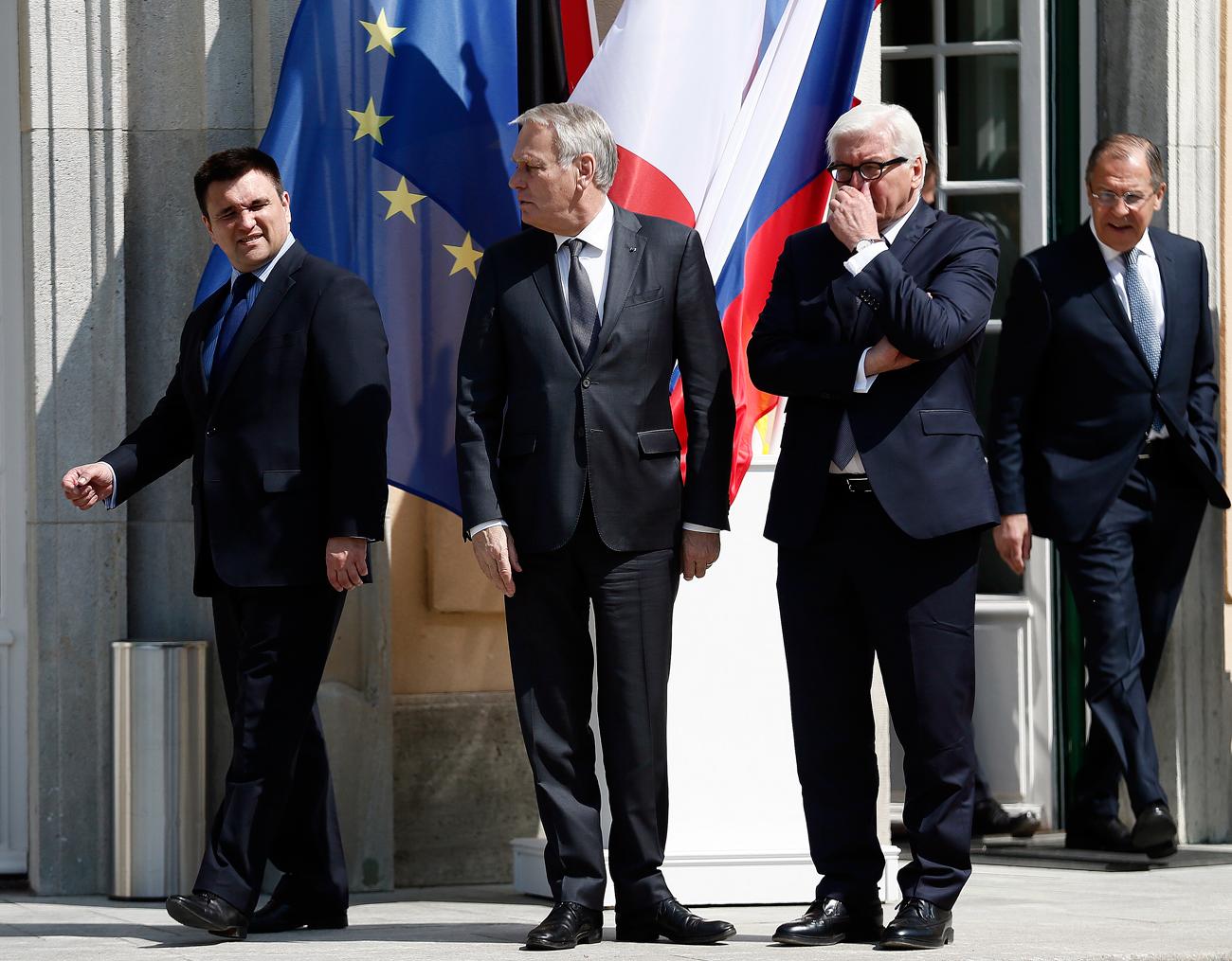 Ukrajinski zunanji minister Pavel Klimkin na srečanju Normandijske četverice.